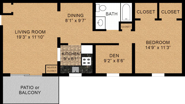 1 Bedroom Floorplan 800 Square Feet